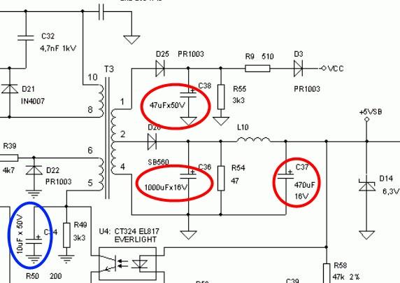 какие конденсаторы нужно менять в схеме