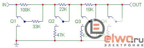 Схема дискретного регулятора громкости 2