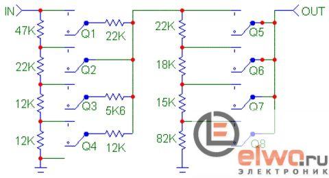 Схема дискретного регулятора громкости 1