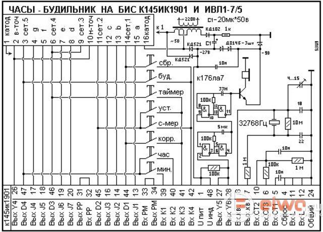 Схема советских электронных часов 145ик1901