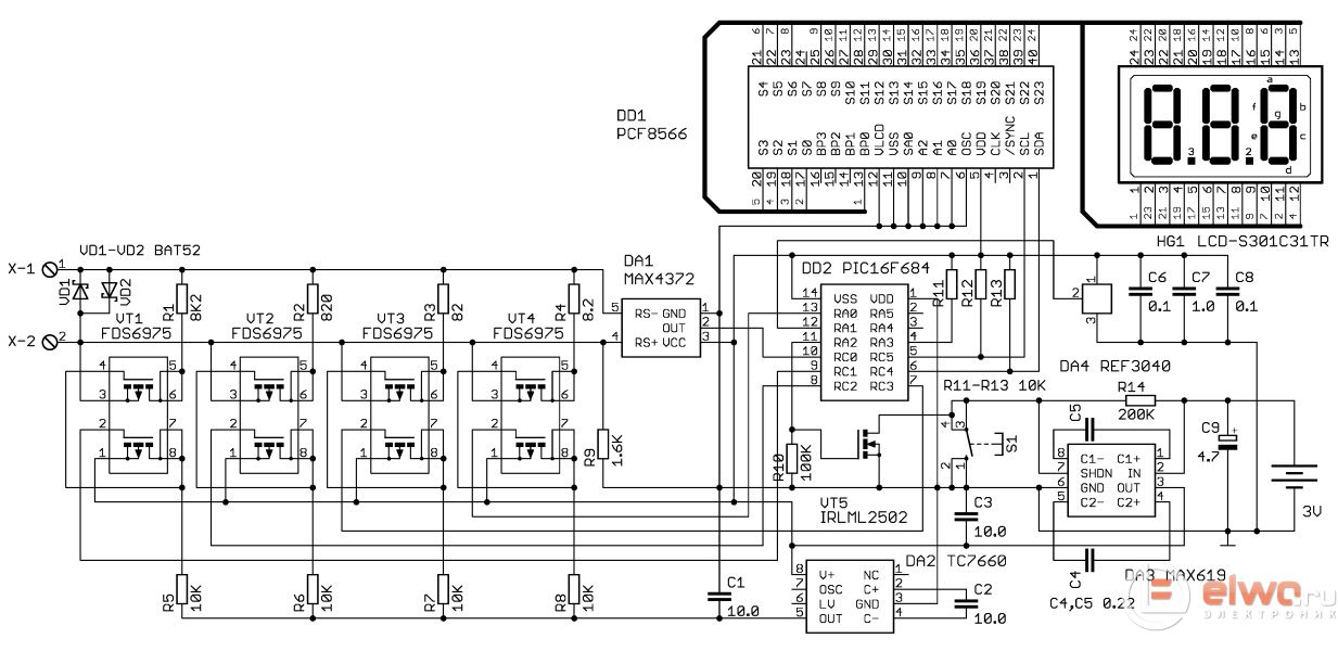 Схема микроамперметра на микроконтроллере